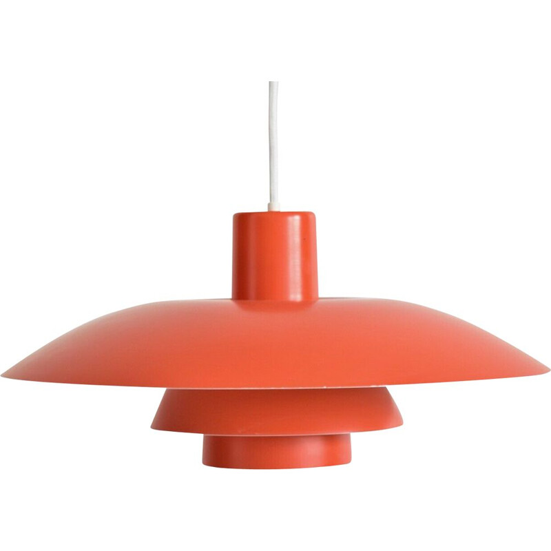 Vintage orange pendant lamp PH4/3 by Poul Henningsen 1950s