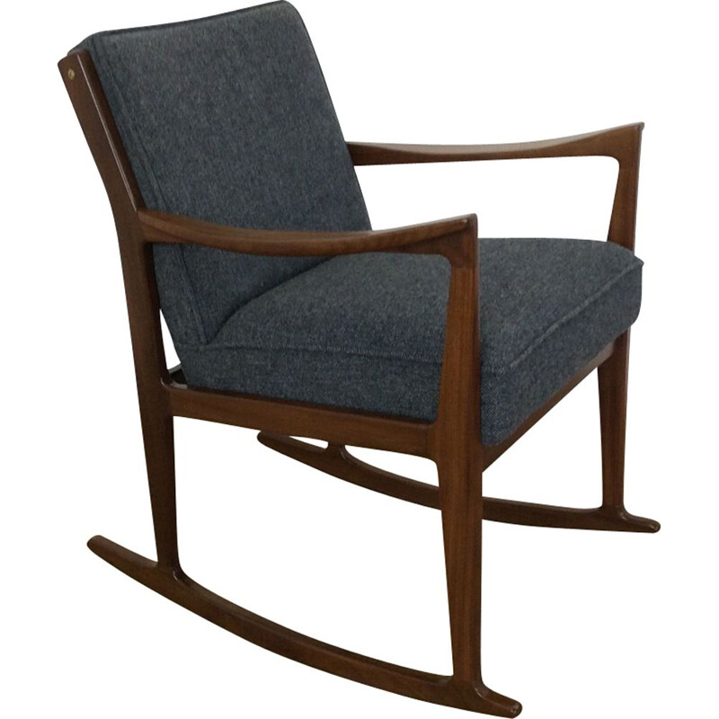 Vintage Danish rosewood rocking chair with grey fabric