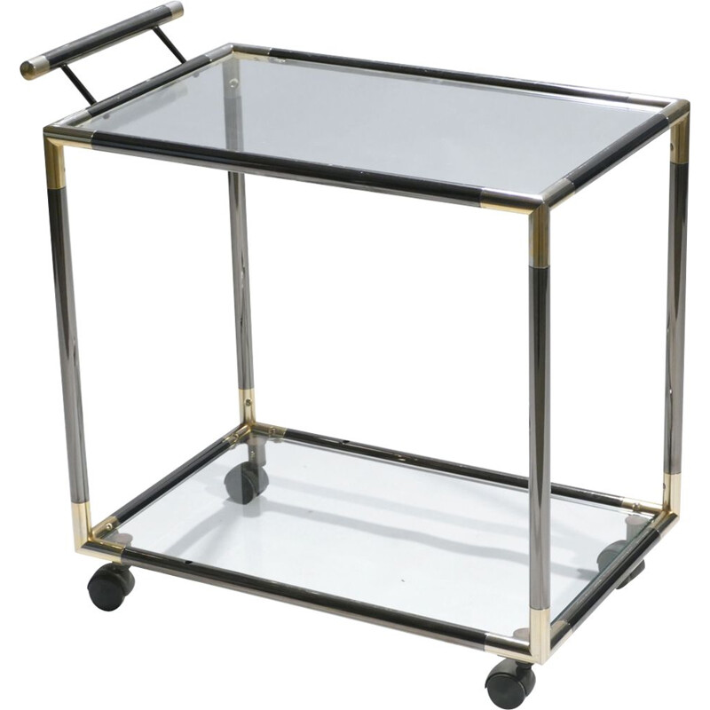 Serving trolley with brass elements 1970