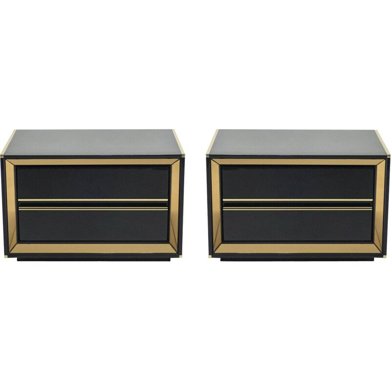 Pair of lacquered bedside tables with brass mirror, Italy 1970
