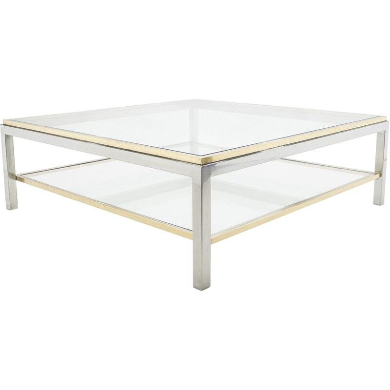 Vintage coffee table with chrome brass by Willy Rizzo 1970 Flaminia