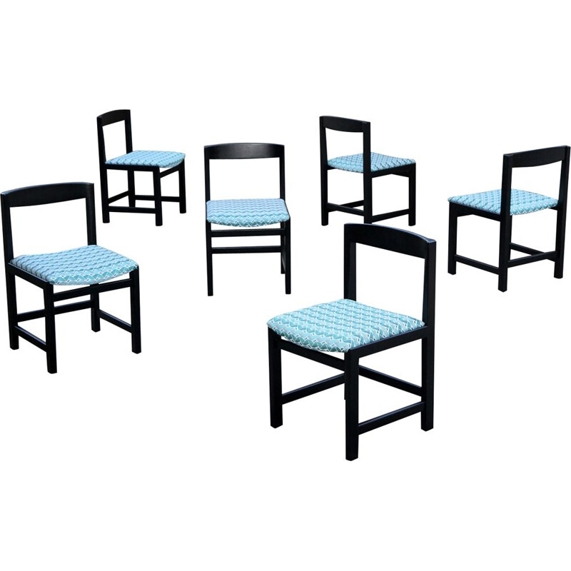 Set of 6 blue and black chairs by Ulferts Tibro