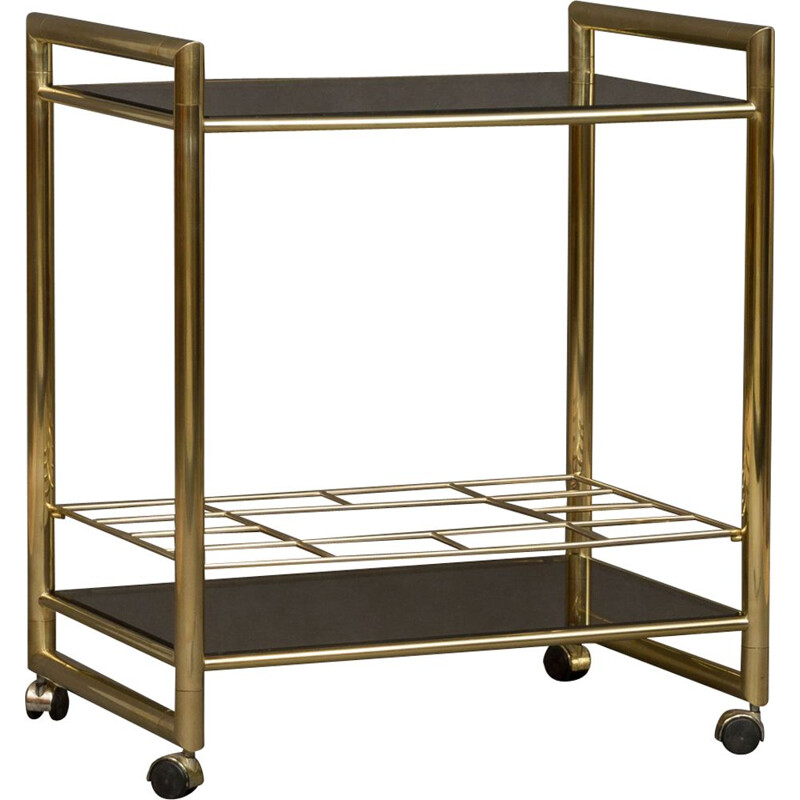Italian golden bar cart in brass