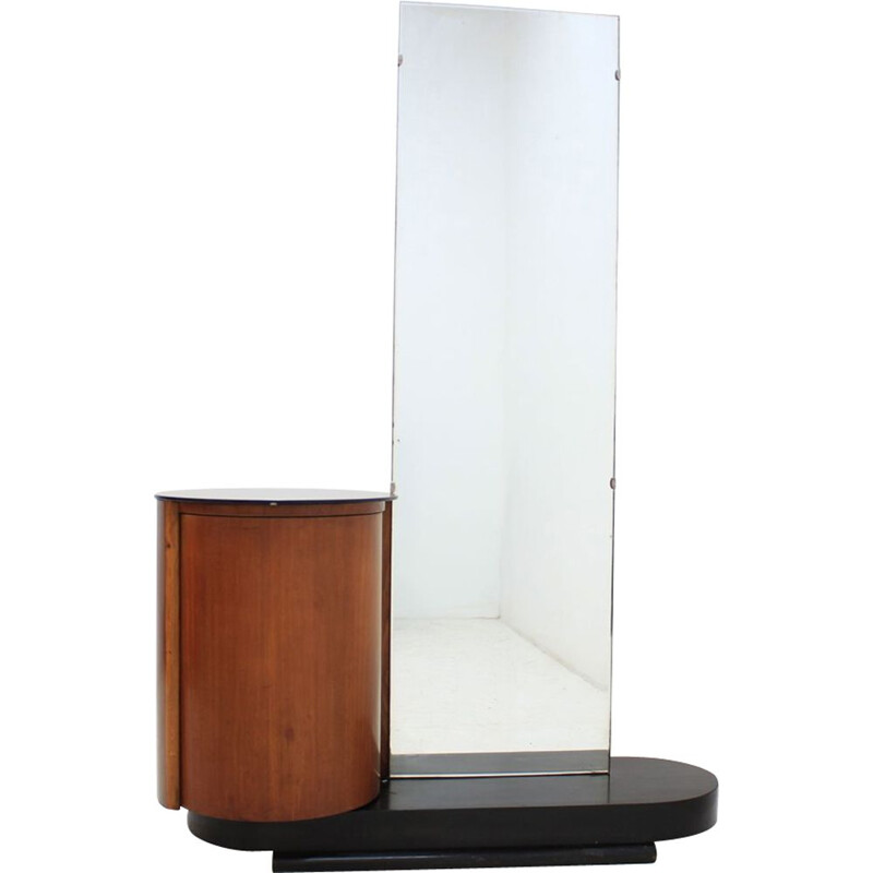 Vintage czech mirror cabinet in wood and glass 1930