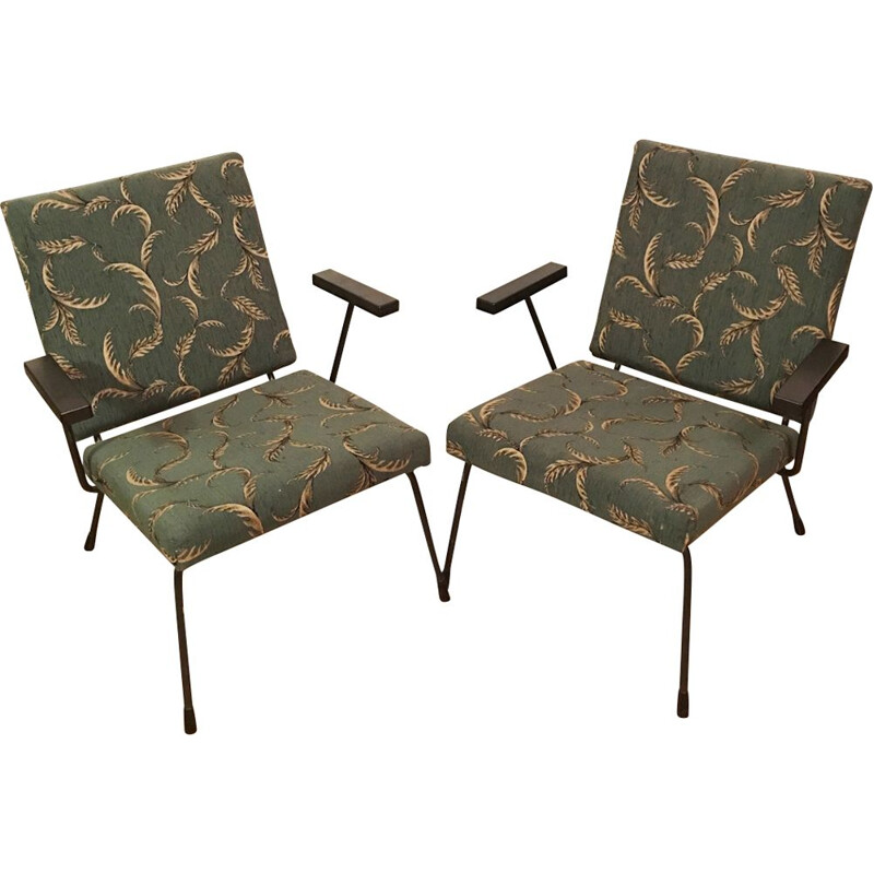 Pair of vintage 415 1401 armchairs for Gispan in steel and green fabric 1950