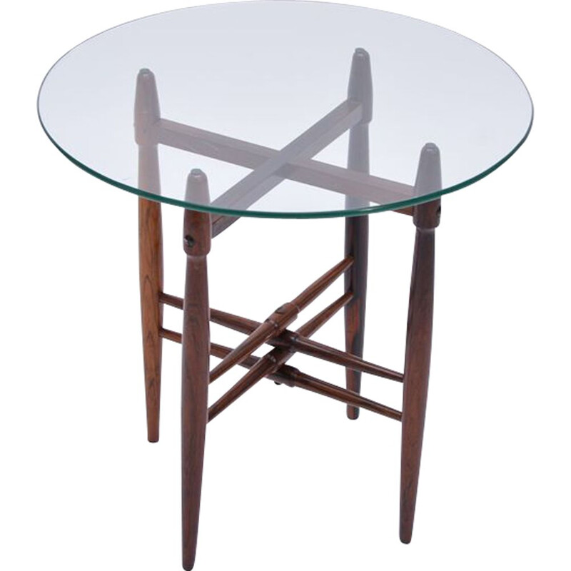 Vintage scandinavian side table by Hundevad in glass and rosewood 1950