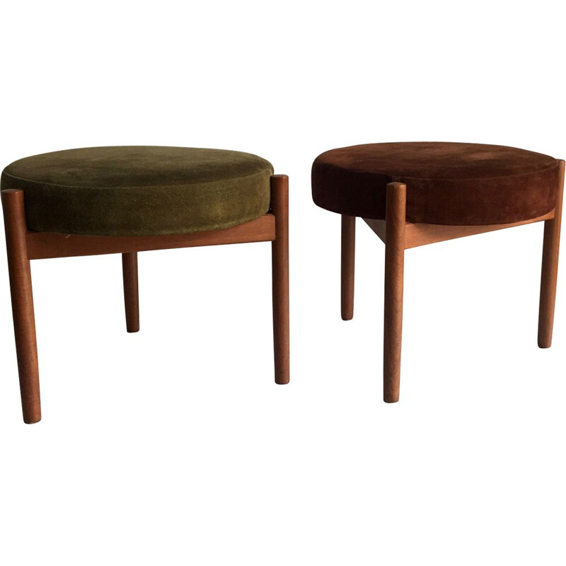 Pair of vintage stools for Spottrup in teak and green and brown suede