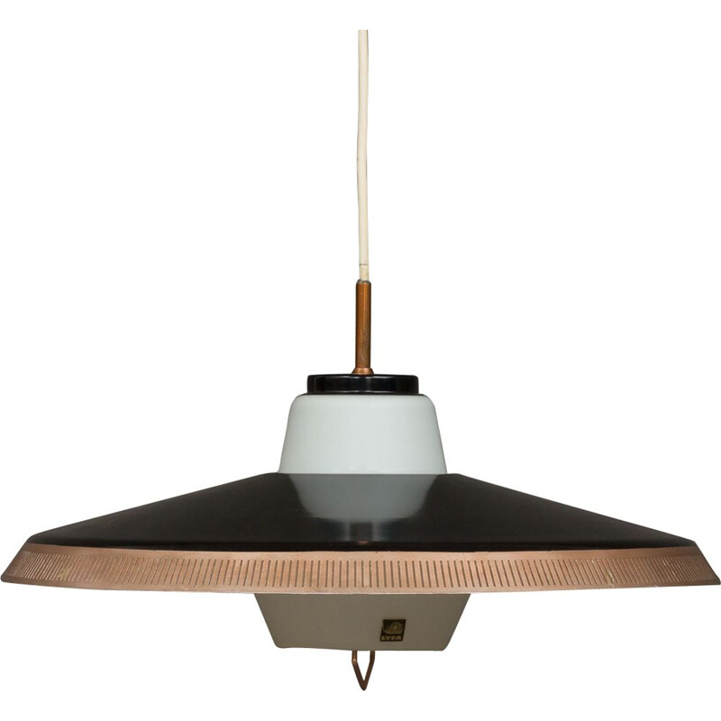 Vintage P415 pendant lamp for Lyfa in black aluminium and glass