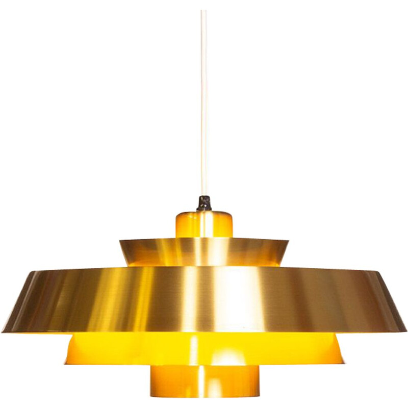Vintage Nova pendant lamp for Fog & Mørup in brass and fabric 1960
