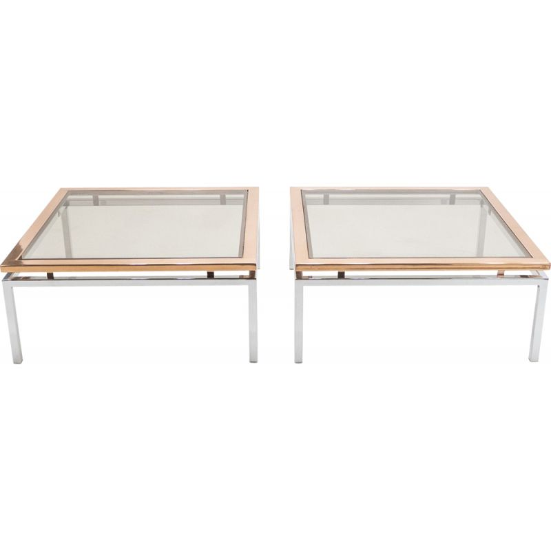 Pair of vintage coffee tables for Maison Jansen in chrome and copper 1970