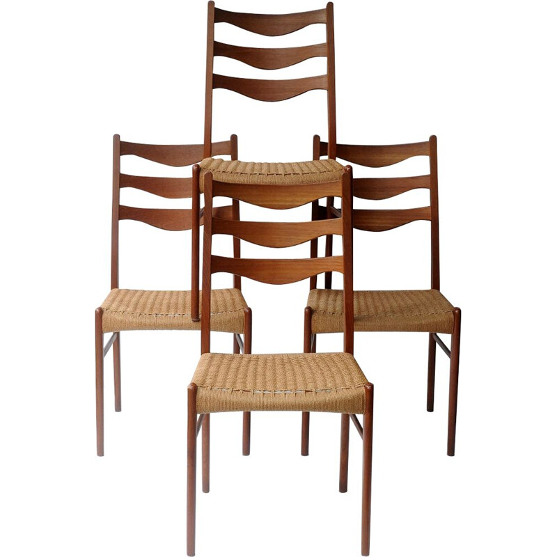 Set of 4 vintage scandinavian chairs for Glyngore Stole in teak and rope