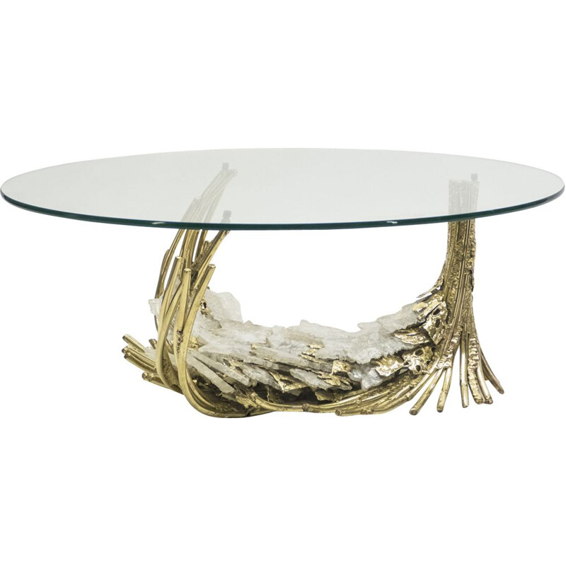 Vintage coffee table by Duval-Brasseur in bronze and stone 1970