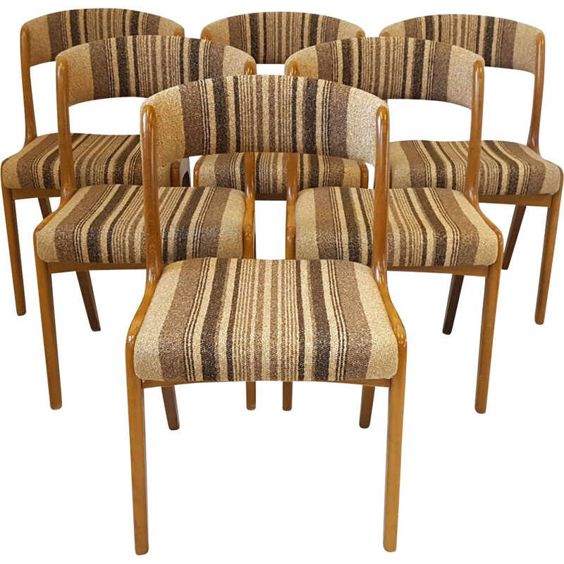 Set of 6 vintage chairs in beech