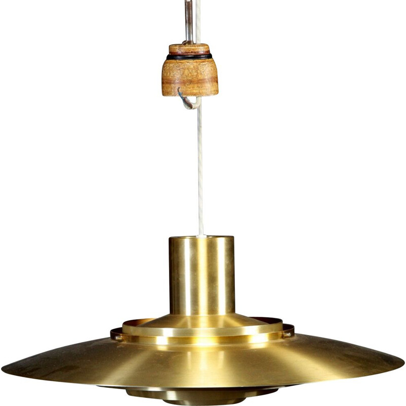 Vintage hanging lamp golden by Preben Fabricius and Jørgen Kastholm