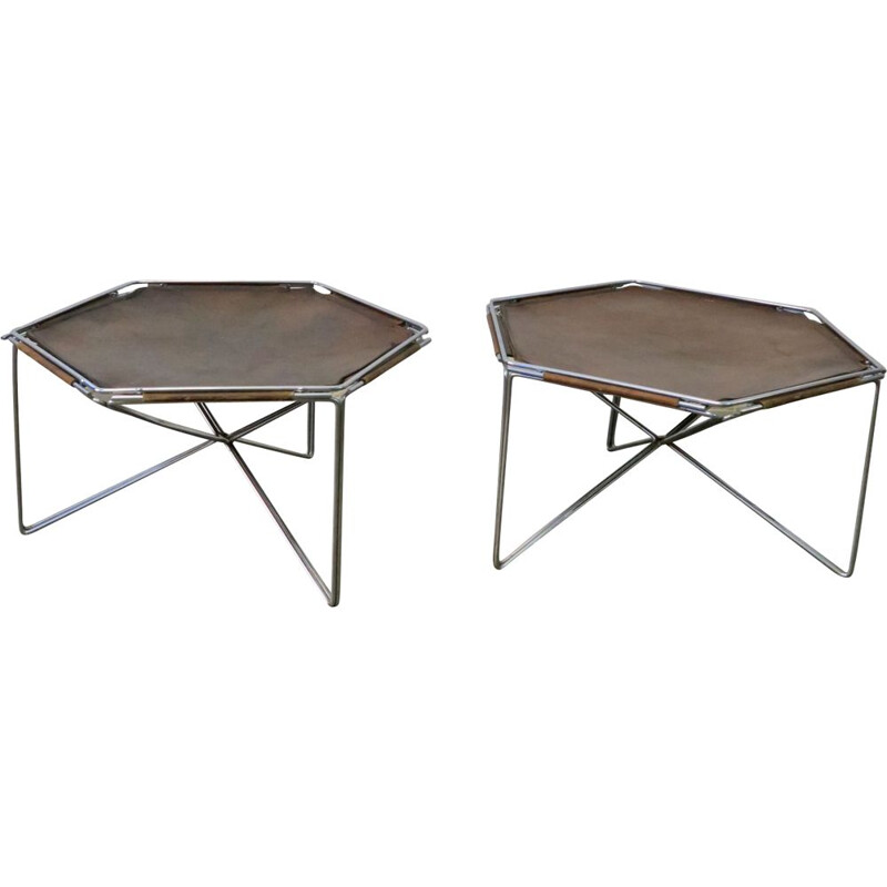 Pair of leather side tables by Max Sauze