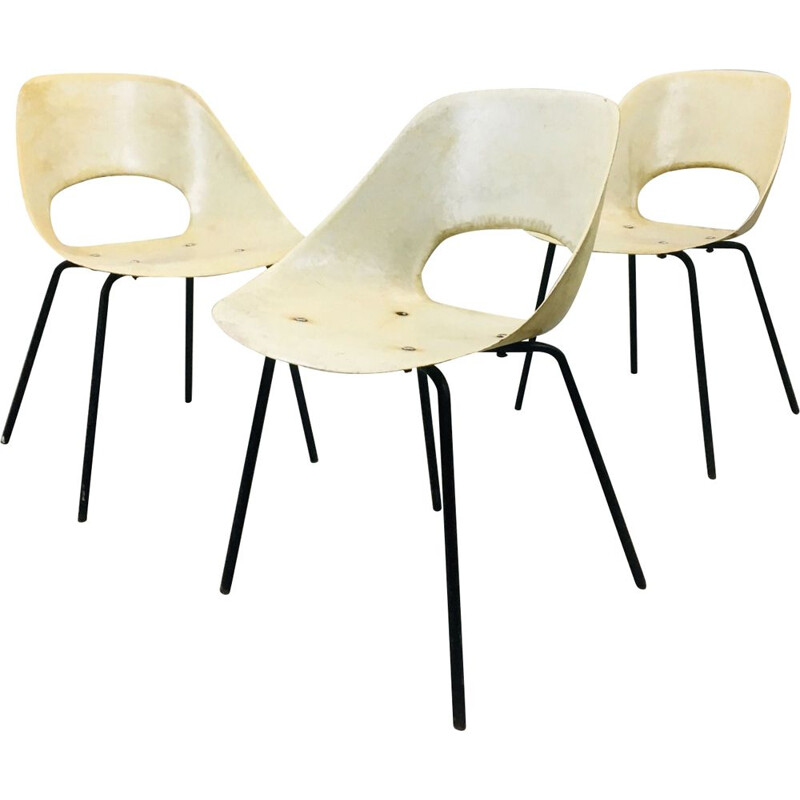Set of 3 chairs vintage model 'Tulip' of Pierre Guariche for Steiner
