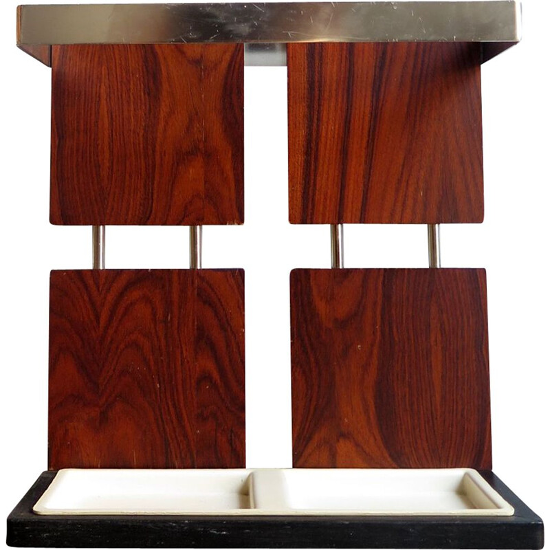 Rosewood and chrome umbrella holder