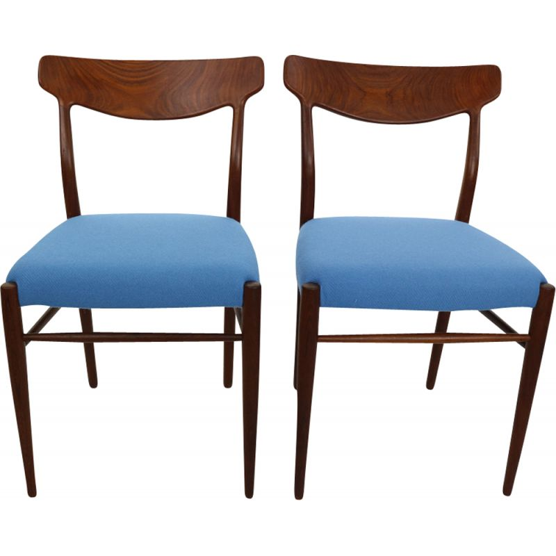 Set of 2 blue chairs in teak by Harry Østergaard