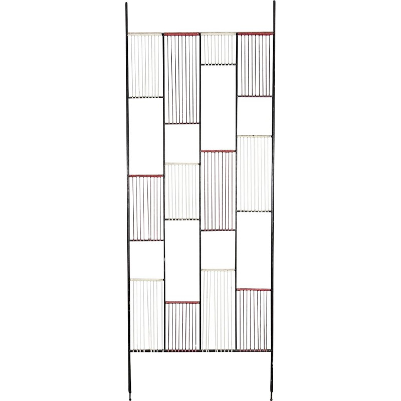 Vintage black room divider in steel
