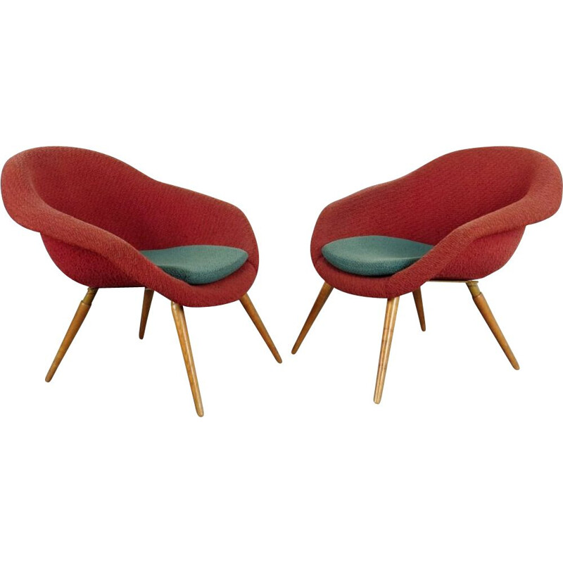 Pair of red armchairs by Frantisek Jirak