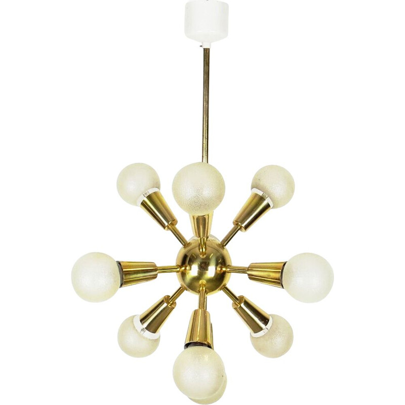 Vintage brass chandelier by Drupol