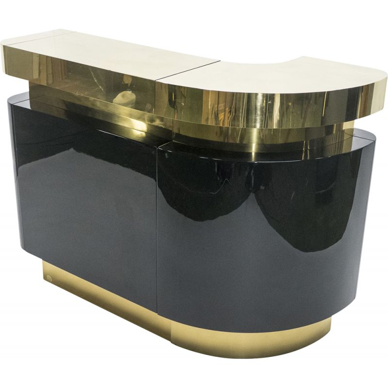 French vintage bar for Romeo Paris in black lacquered and brass 1970