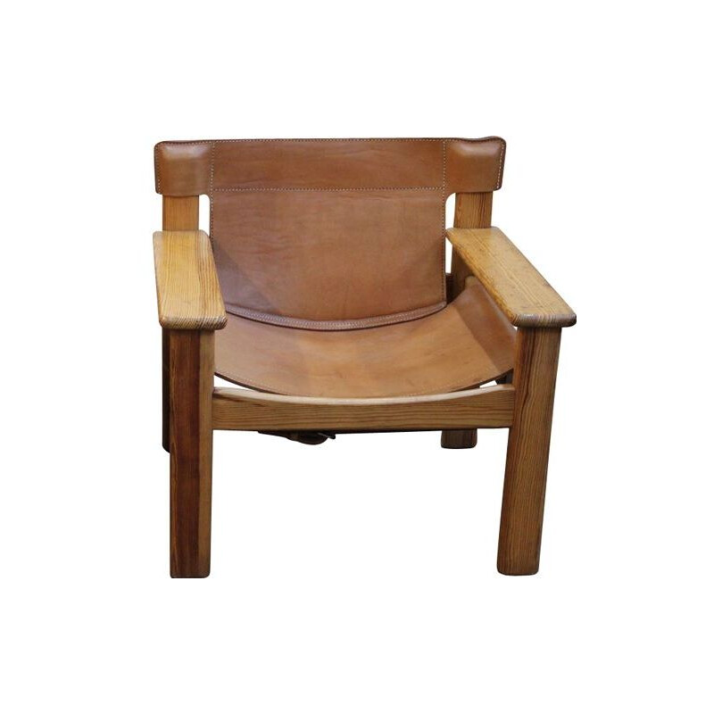 Vintage Natura armchair by Karin Mobring in brown leather and wood 1970
