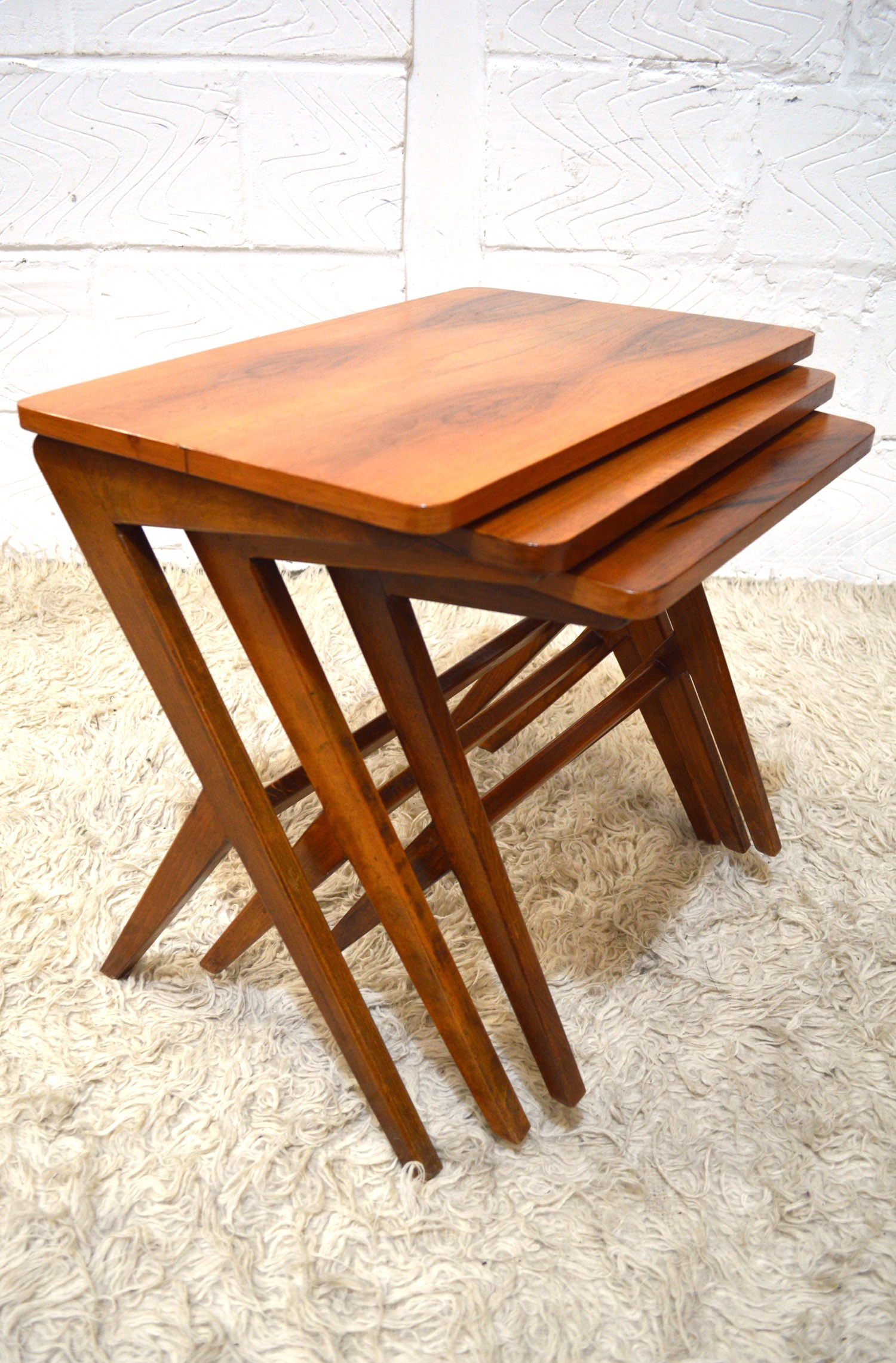 Scandinavian nesting tables in walnut and beech 1950s design market scandinavian nesting tables in walnut and beech 1950s previous next watchthetrailerfo