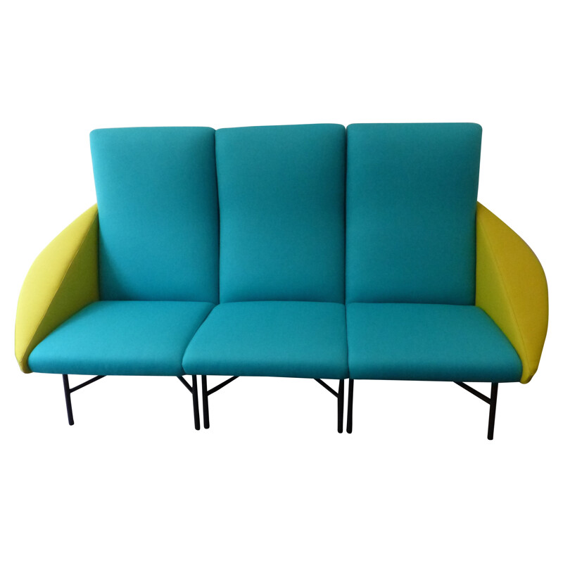 3-seater sofa in two colours, Dangles and Defrance - 1950s