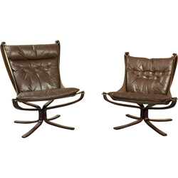 Pair of Falcon armchairs in brown leather and beechwood, Sigurd RESSELL - 1970s