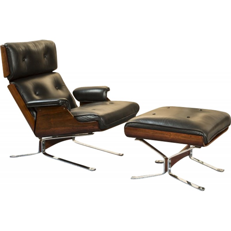 Stupendous Lounge Chair And Ottoman In Leather Rosewood And Chrome 1965 Theyellowbook Wood Chair Design Ideas Theyellowbookinfo
