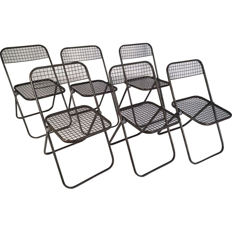 Set of 6 vintage chairs in metal by Niels Gammelgaard1970