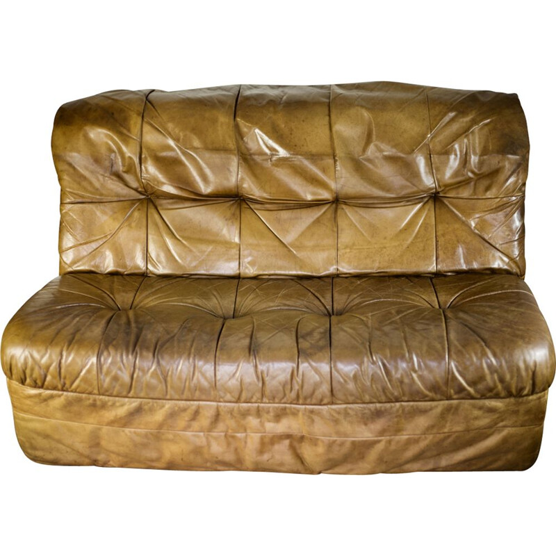 Vintage cognac leather sofa by Rolf Benz