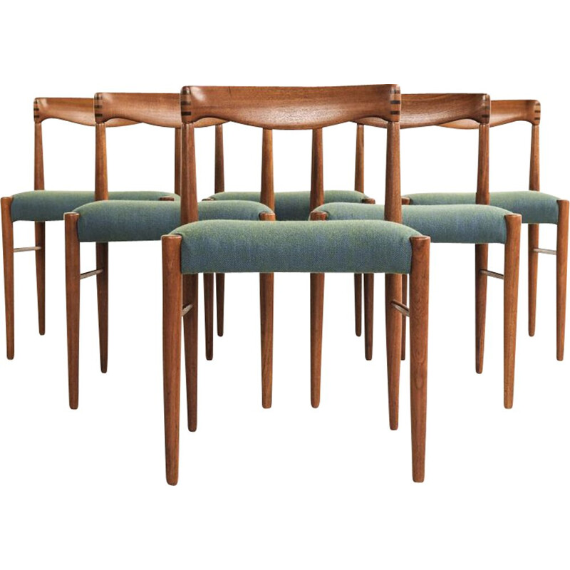 Set of 6 vintage chairs in teak by HW Klein for Bramin
