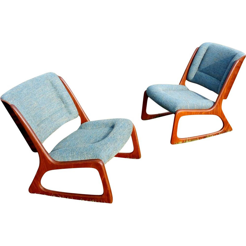 Set of 2 vintage armchairs by Baumann 1960