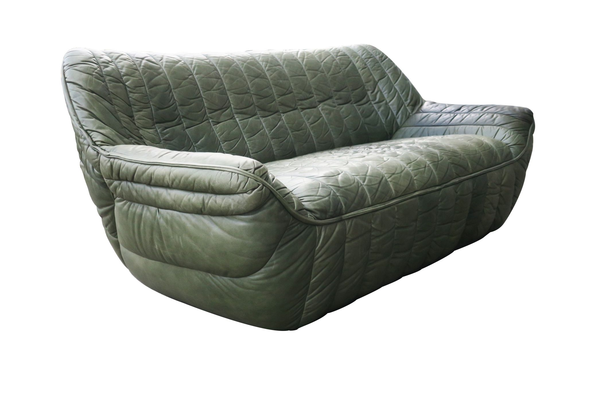 Olive Green Leather Sofa By Laauser