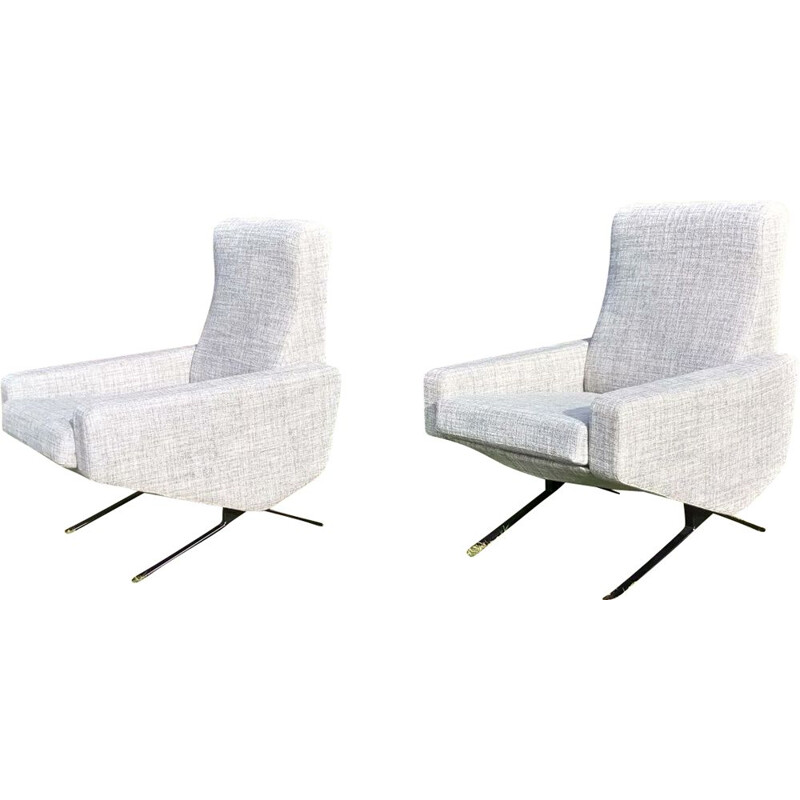 "Set of 2 vintage ""Troika"" armchairs by  P.Geoffroy 1950"