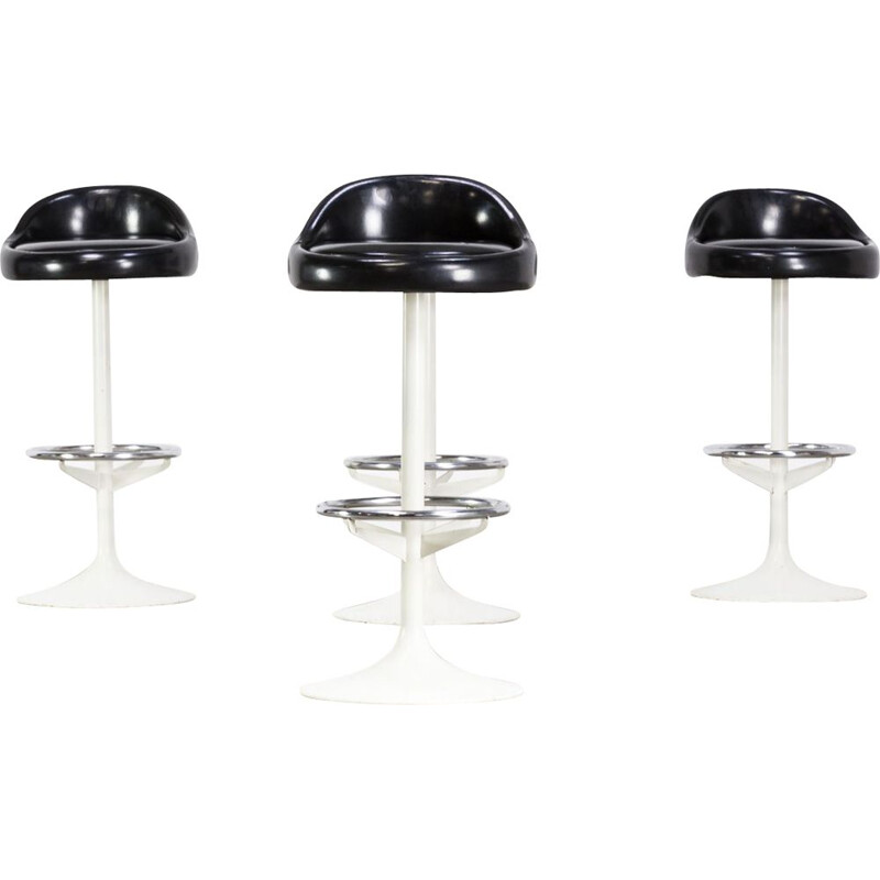 Set of 4 vintage metal, chrome and skai barstools