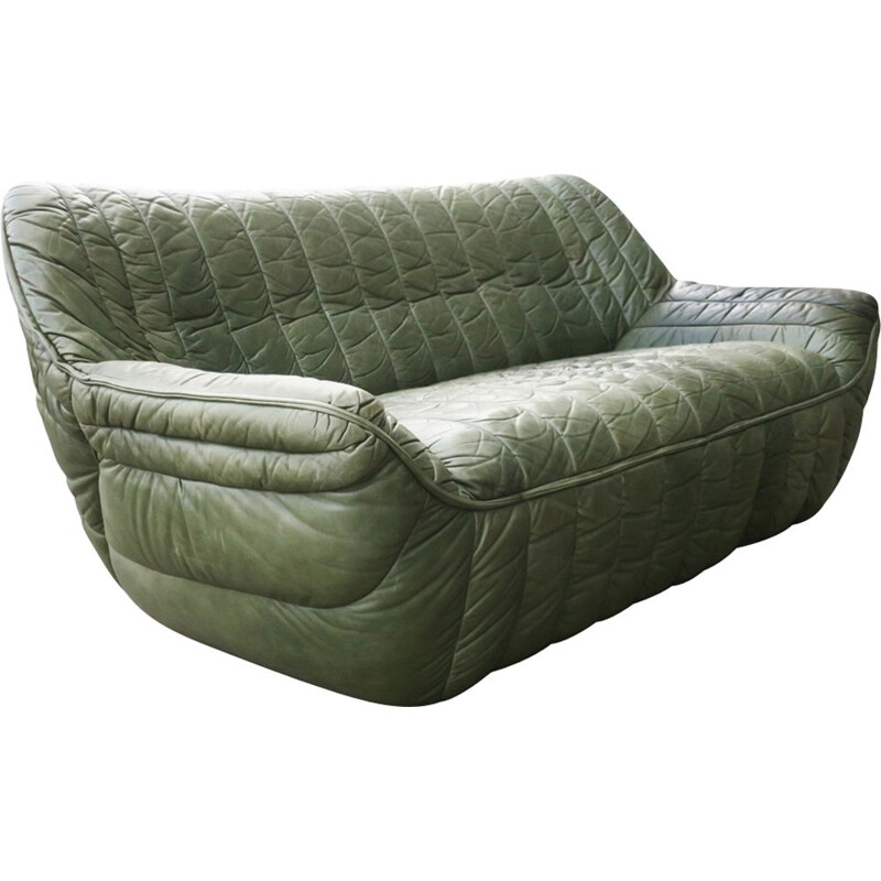 Vintage patchwork olive green leather sofa by Laauser