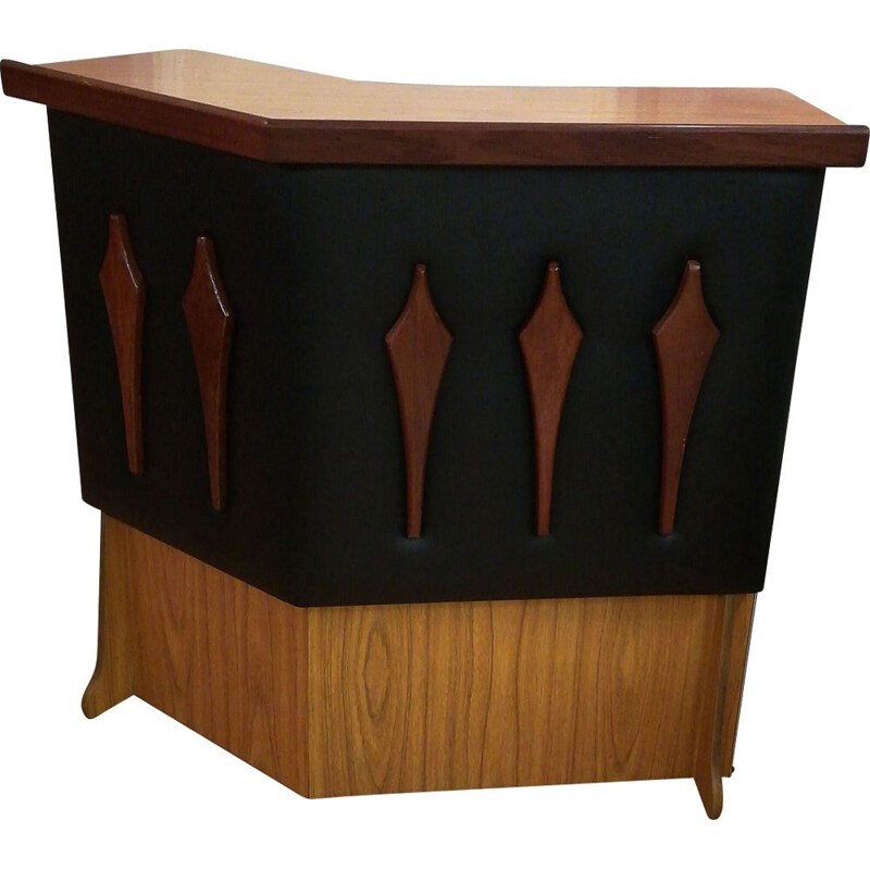 Vintage bar in formica wood and faux black leather