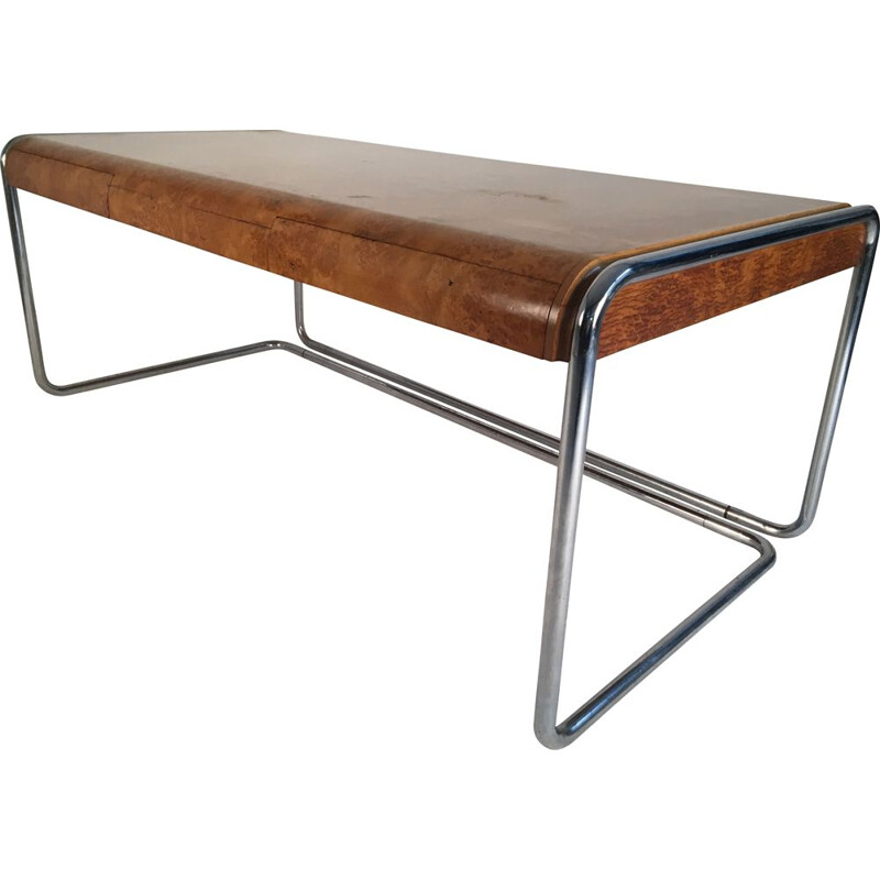 Vintage desk in burlwood and chromed steel
