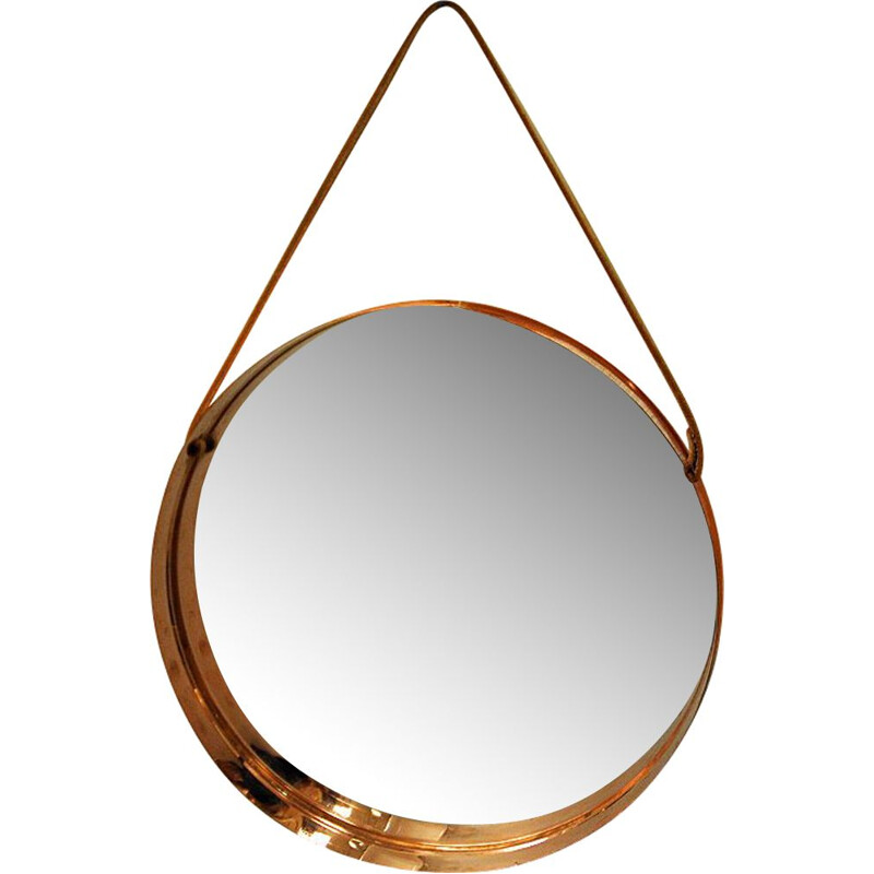 Scandinavian mirror with copper frame