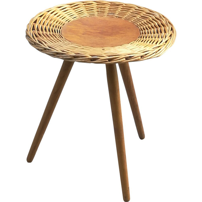 Vintage side table in wood and wicker 1960