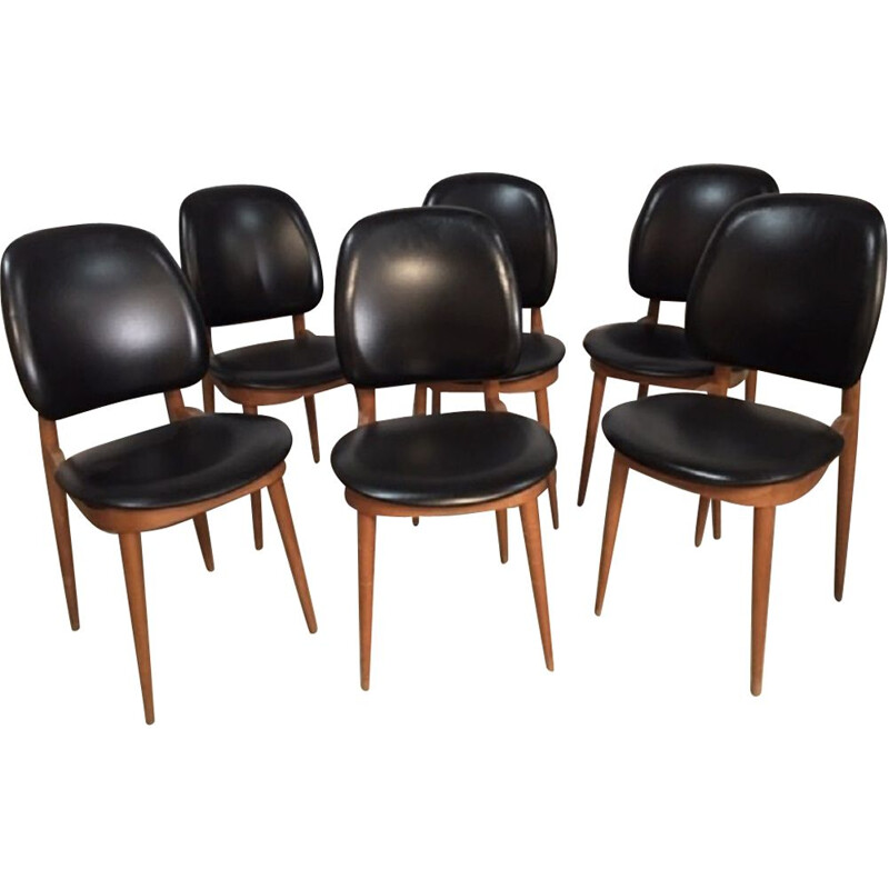 Set of 6 vintage Pegase chairs for Baumann in beech and black leatherette 1960