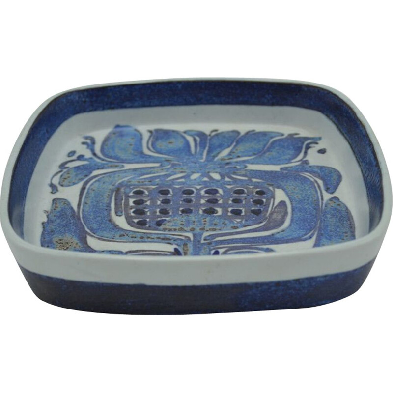 Vintage dish series Tenera for Aluminia in blue earthenware 1960