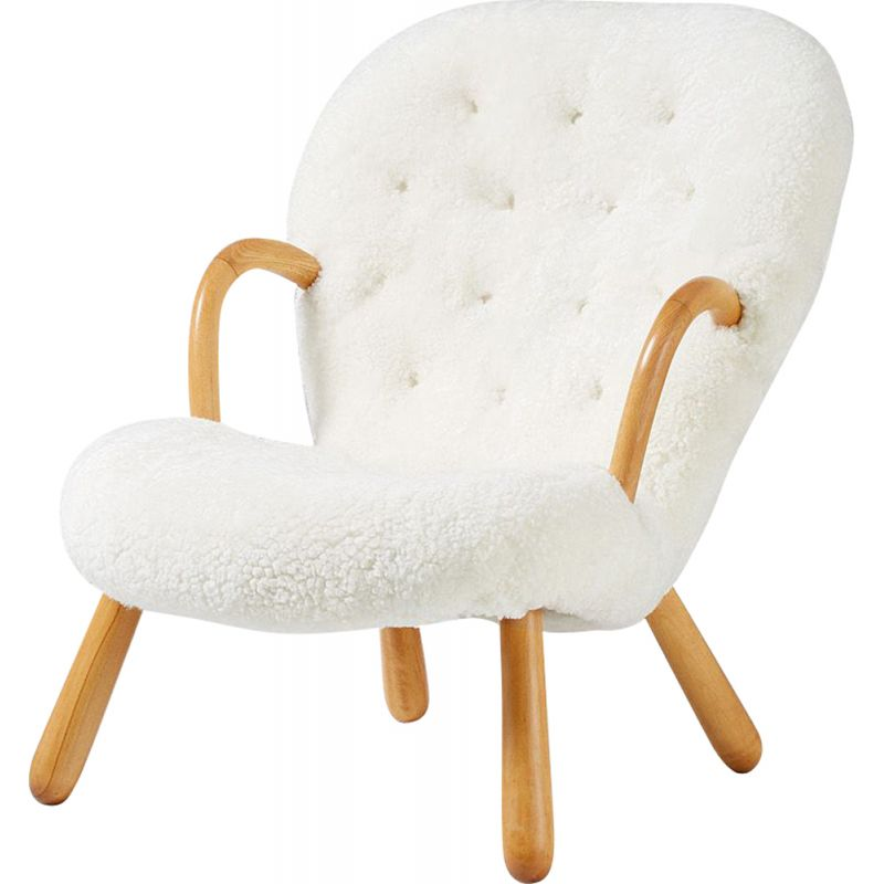 Vintage Clam chair for Nordisk Staal & Mobel Central in sheepskin