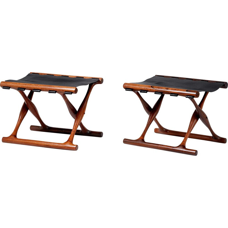 Pair of vintage Poul Hundevad, model 41 folding stools in rosewood and leather