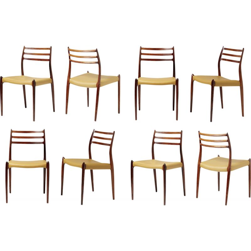 Set of 8 Vintage Dining Chair, Rosewood, Model 78, 1962