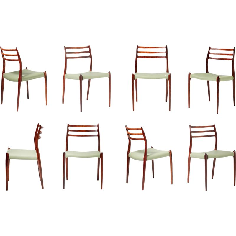 Set of 8 Rosewood Model 78 Dining Chairs by Niels Moller, 1962