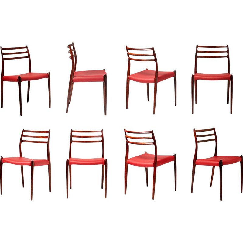 Set of 8 rosewood Model 78 Dining Chairs, Niels Moller 1962
